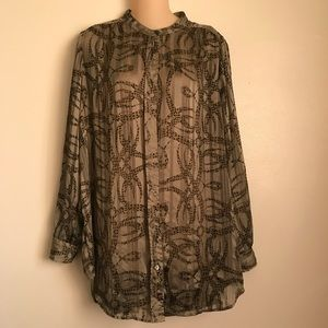 H&M Olive Green button down blouse